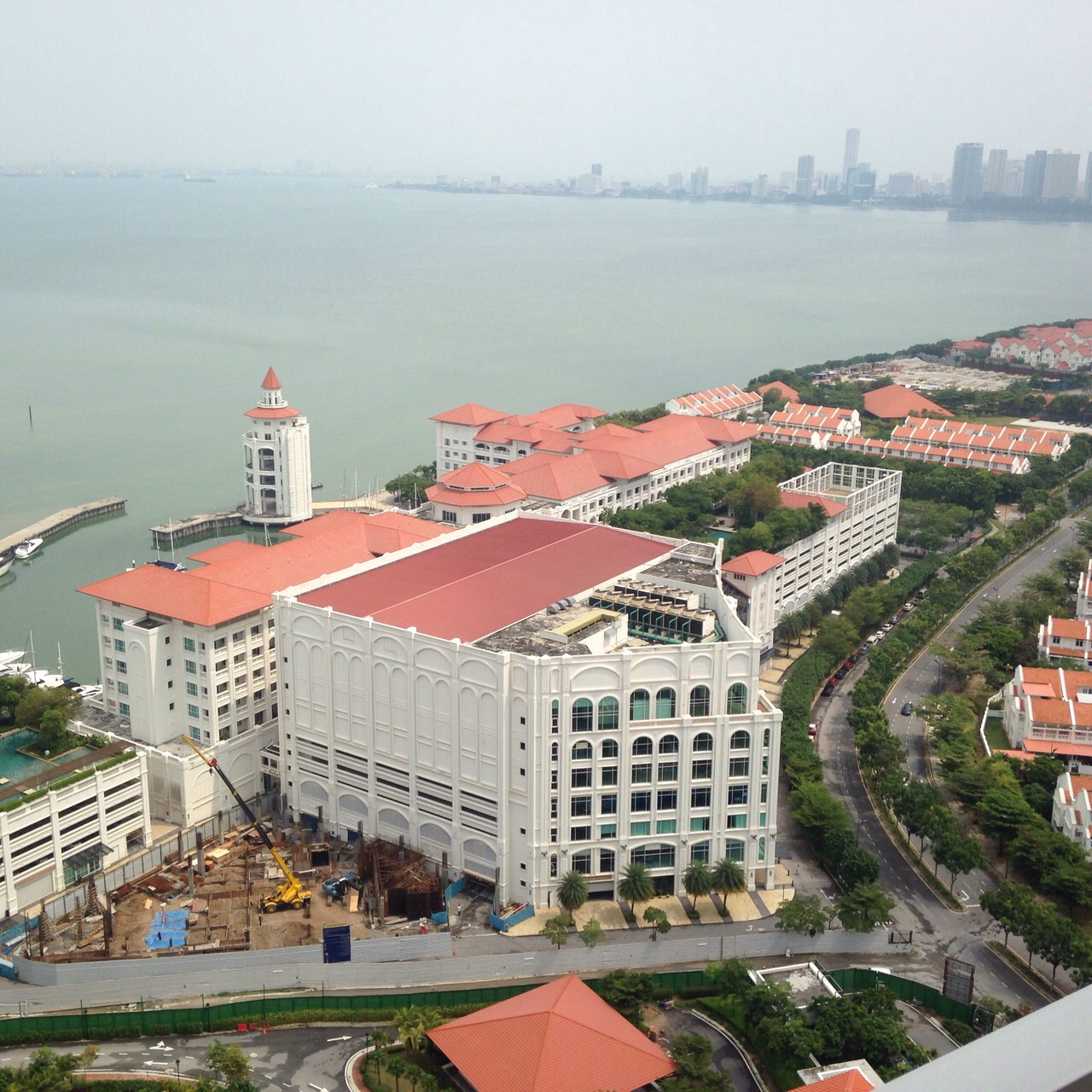 Panoramic coast line view of Straits Quay and Gurney Drive